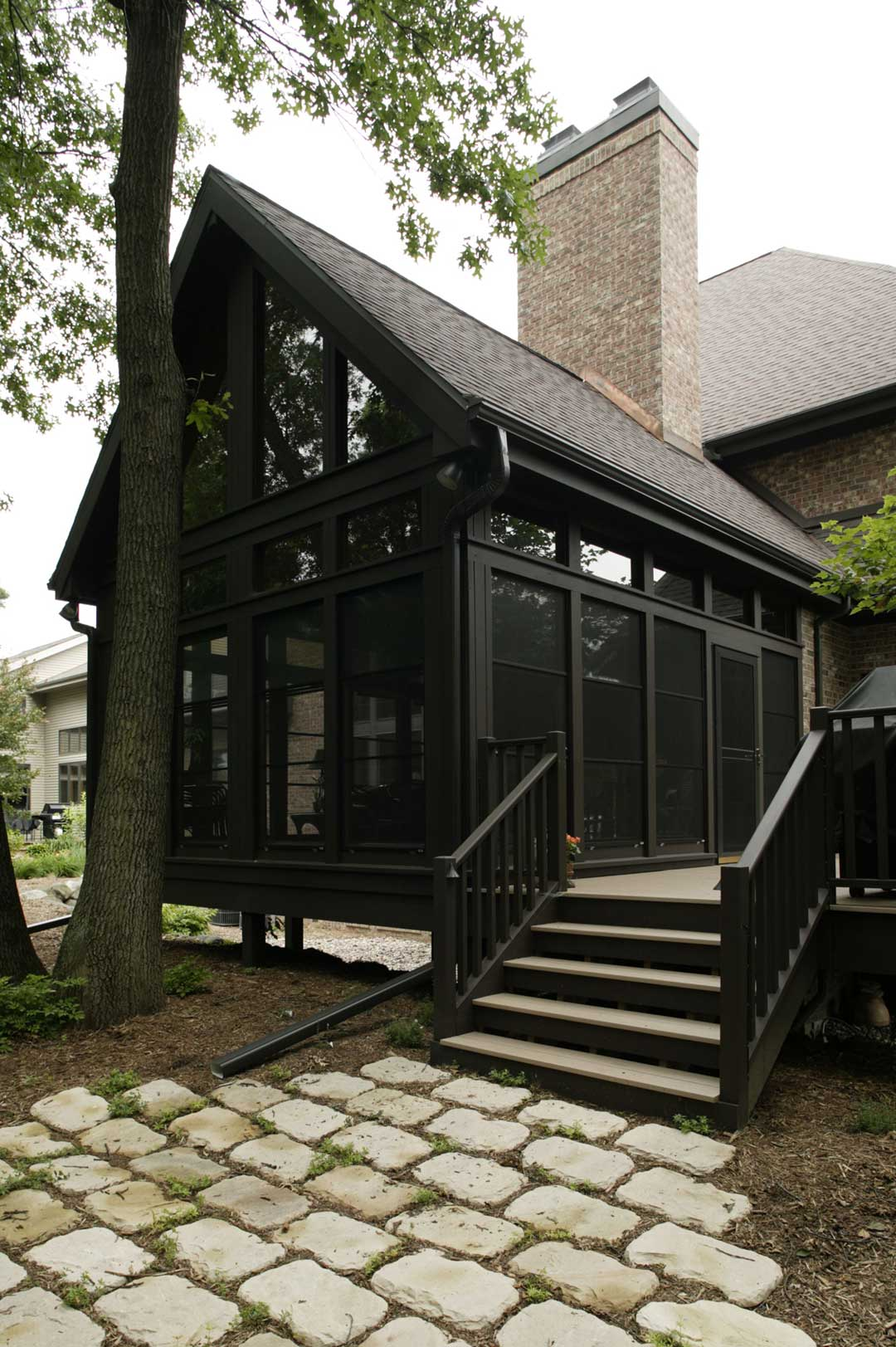 Fitchburg-WI-Traditional-Sunroom-Addition-Exterior-Stairs