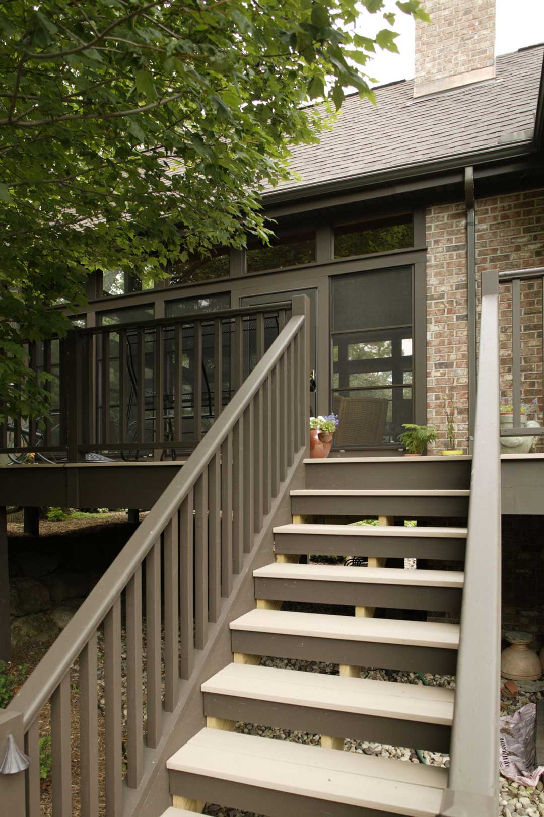 Fitchburg-WI-Traditional-Sunroom-Addition-Stairs