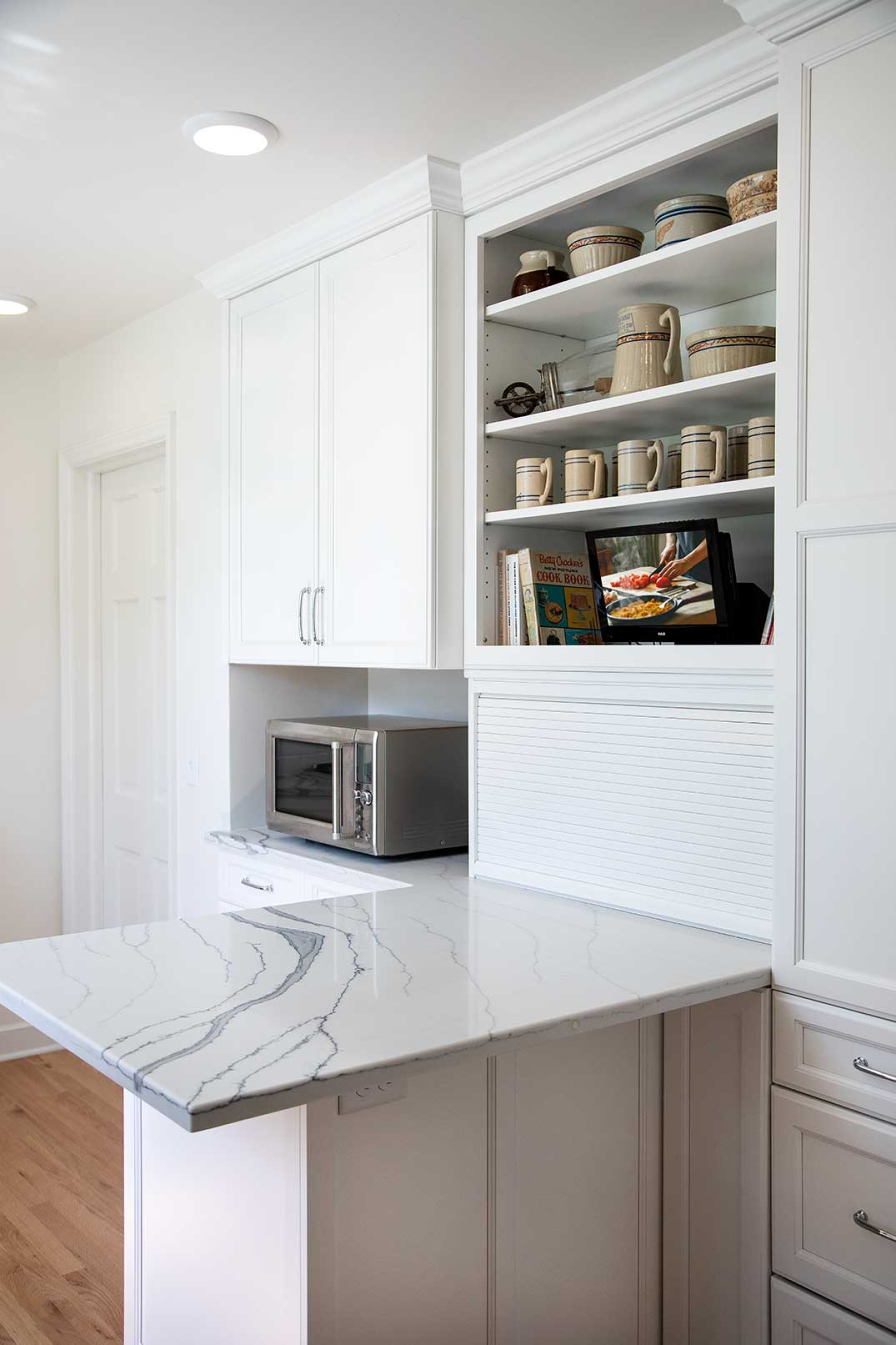 Appliance Garage and Open Shelving